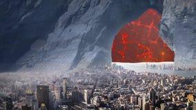 Fantastisk fantastisk overklig landskapanimering ( med röd Moon) , Ver 01 royaltyfri illustrationer