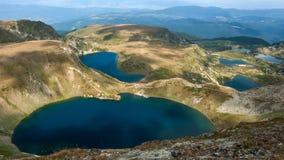 Fantastisk panorama av de sju Rila sjöarna arkivfoton