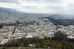 Fantastisk panorama av staden av Aten från den Lycabettus kullen Royaltyfri Bild