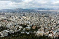 Fantastisk panorama av staden av Aten från den Lycabettus kullen Arkivbilder
