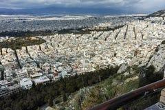 Fantastisk panorama av staden av Aten från den Lycabettus kullen Royaltyfria Foton
