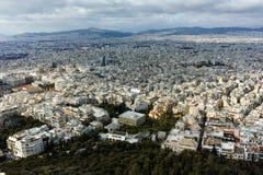 Fantastisk panorama av staden av Aten från den Lycabettus kullen Royaltyfri Fotografi