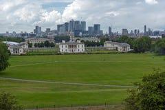 Fantastisk panorama från Greenwich, London, England Fotografering för Bildbyråer