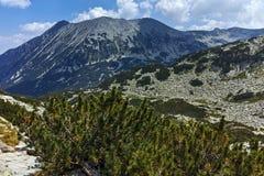 Fantastisk panorama runt om det Banderitsa passerandet, Pirin berg royaltyfria foton