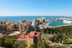 Fantastisk panoramautsikt av den Malaga staden, Andalusia, Spanien arkivfoton