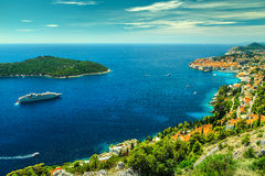Fantastisk panoramautsikt av den walled staden Dubrovnik, Dalmatia, Kroatien Royaltyfri Bild