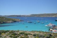 Fantastisk plats av den blåa lagun i Malta Fotografering för Bildbyråer