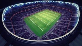 Fantastisk rugbystadion med fans under taket Arkivbilder