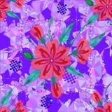 Fantastisk sömlös blom- modell med ljusa färgrika blommor och sidor på en blå bakgrund  royaltyfri illustrationer