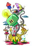 Fantastisk sammansättning med roboten och kryp royaltyfri illustrationer