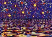 Fantastisk seascape En natt med stora magiska stjärnor vektor illustrationer