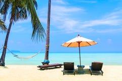 Fantastisk sikt av den härliga stranden med palmträd, chaises och tra fotografering för bildbyråer