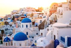 Fantastisk sikt av en Santorini soluppgång Fotografering för Bildbyråer