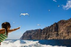 Fantastisk sikt av höga klippor från fartyget kanariefågelöar tenerife Royaltyfri Bild