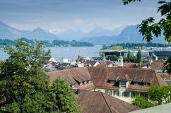 Fantastisk sikt av Lucerne sjön, Schweiz arkivbilder