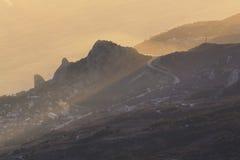 Fantastisk sikt från berget Ai-Petri på gryning Fotografering för Bildbyråer