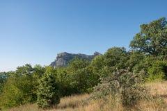 Fantastisk sikt på berg i avståndet i varm sommar Semester sommarlopp crimea arkivfoto