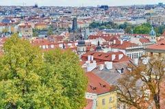 Fantastisk sikt på den Prague staden Fotografering för Bildbyråer