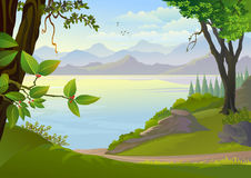 Fantastisk sjö och kullar Fotografering för Bildbyråer