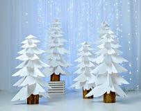 Fantastisk skog av pappers- julgranar Arkivbilder