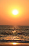 Fantastisk solnedgång i Goa, Indien Royaltyfri Foto