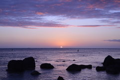 Fantastisk solnedgång i Mauritius Royaltyfri Fotografi