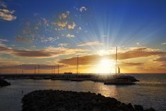 Fantastisk solnedgång i Tenerife royaltyfria bilder