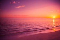 Fantastisk solnedgångstrand arkivfoto