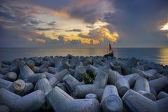 Fantastisk soluppgång på stranden Arkivfoton