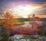 Fantastisk sommarsolnedgång Royaltyfri Foto