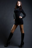 fantastisk svart klänninglady Fotografering för Bildbyråer
