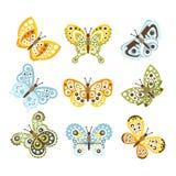 Fantastisk tropisk fjäril med skraj designmodeller på vinguppsättningen av idérika krypteckningar stock illustrationer