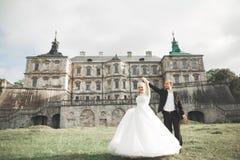 Fantastiska lyckliga försiktiga stilfulla härliga romantiska caucasian par på den forntida barocka slotten för bakgrund arkivfoto