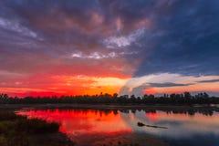 Fantastiskt färgrik solnedgång Arkivbilder