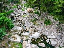 Fantastiskt landskap av stenar med vegetation Arkivfoton