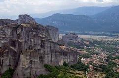 Fantastiskt landskap i Meteora, Grekland Fotografering för Bildbyråer