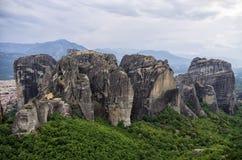 Fantastiskt landskap i Meteora, Grekland Arkivbilder