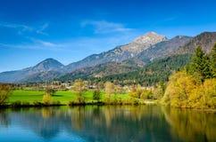 Fantastiskt landskap i Slovenien Arkivfoto