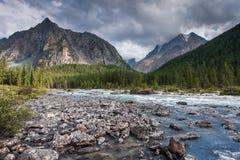 Fantastiskt landskap med floden och berg, Altai, Sibirien, Ryssland Royaltyfri Bild