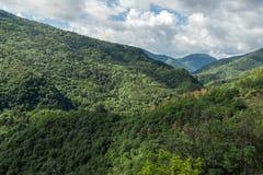 Fantastiskt landskap till det Rhodopes berget från fästningen för Asen ` s, Bulgarien Royaltyfri Bild