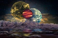 Fantastiskt utomjordiskt världslandskap royaltyfri illustrationer