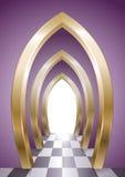 Fantastyczna arkada złoci łuki ilustracja wektor