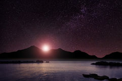 Fantastyczna nocy morza sceneria Fotografia Royalty Free