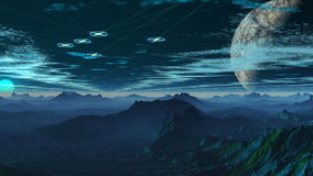 Fantastyczna planeta i UFO royalty ilustracja