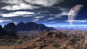 Fantastyczna planeta i UFO ilustracji