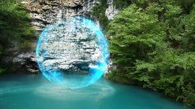 Fantastyczna scena z energetyczną sferą nad jeziorem zbiory