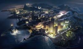 fantastyczne miasta royalty ilustracja