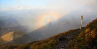 Fantastyczni widoki góry i kolorowy zjawiska Brocken widmo Obrazy Royalty Free