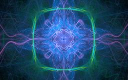 Fantastyczny abstrakcjonistyczny wizerunek energetyczne linie bez, błękit, zieleń na tle fala cienkie przeklęte linie różny Zdjęcie Stock