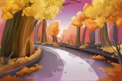 Fantastyczny akwarela stylu obraz: Lasowa droga ilustracja wektor